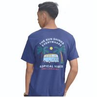 RMC Republic - kaos lengan pendek tropical vibes / kaos outdoor tropic - NAVY, M