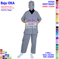 Seragam Perawat, Baju OKA / Seragam OKA, Pria / Wanita - Abu-abu, S