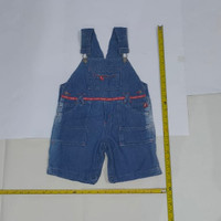 Baju kodok pendek anak anak bahan jeans biru jumpsuit