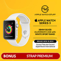 Apple Watch Series 3 GPS 38mm Silver Aluminium with White Sport Band -