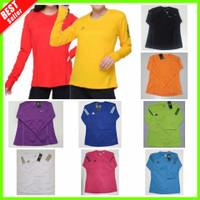 Baju Olahraga Wanita Senam Fitness Gym Kaos Lari Lengan Panjang Hijab - Kuning, Adidas Size S