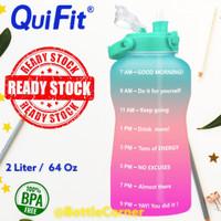 QUIFIT Botol Minum 2 L Dengan Sedotan ( Botol Minum Motivasi ) - GREEN PINK