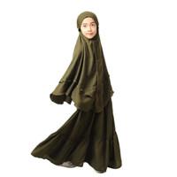 Bajuyuli - Baju Muslim Anak Perempuan Syari Bergo - Hijau Army