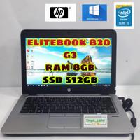 LAPTOP HP ELITEBOOK 820 G3 CORE i5 -6300U  RAM 8GB  SSD 512GB  GARANSI