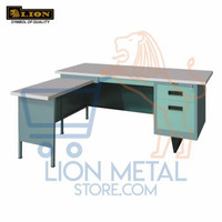 Meja kerja direktur bentuk L, meja kantor lion 103 AL murah, original
