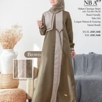 Sale Baju Gamis ORI Nibras NB A89 - Brown, XS