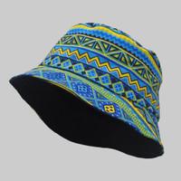 Topi Bucket Hat BucketHat Motif Etnik Biru Hijau Green Blue Ethnic - Etnik Biru