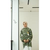 Baju Atasan Audrey Blouse Fashion Wanita Lengan Panjang Katun Rayon XL - Army Brush