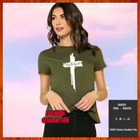 Baju Kaos Rohani Kristen Salib Hallelujah / Haleluya Wanita Pria Army