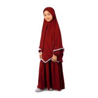 Bajuyuli - Baju Muslim Anak Perempuan Syari Renda - Marun