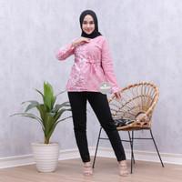Atasan wanita batik blouse lengan panjang blus batik soft premium - Merah Muda, M