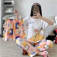 Piyama 790 Import Pajamas Garfield 3in1 Anak Perempuan Remaja Wanita