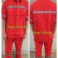 setelan baju celana safety kerja lapangan/baju safety lengan pendek