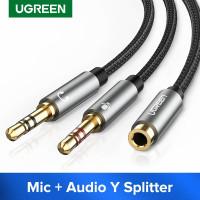 Audio Splitter 3.5mm Female to 2 Male 3.5mm Mic Audio Y Splitter Cable