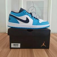 Sepatu Nike Air Jordan 1 Low Unc White University Blue 100%Pk Quality