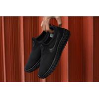 Sepatu Sneakers Import Slip On Nike Wanita Cewek Sekolah Black Hitam - 1, 36