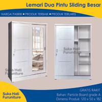 Lemari Pakaian 2 Pintu Sliding Minimalis Full Cermin Putih