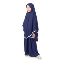 Bajuyuli - Gamis Anak Perempuan Syari Renda - Biru Tua Navy - L