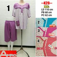 Babydoll Jumbo XXL Amro Label merah 3/4 setelan kaos Busui Baju Tidur