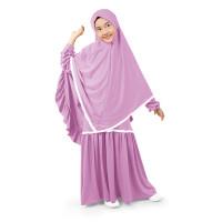 Bajuyuli - Baju Muslim Anak Perempuan Syari Renda - Lilac Ungu Lavende - L
