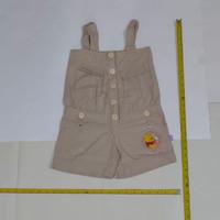 Baju kodok pendek anak anak bahan katun beige winnie the pooh kancing