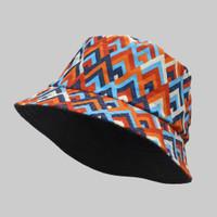 Topi Bucket Hat BucketHat Motif Etnik Orange Ethnic Blue - Etnik Orange