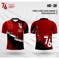Jersey hut kemerdekaan ri ke 76 kaos baju dirgahayu indonesia - Merah, XS