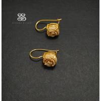 Anting Perak 925 Motif Mawar Gold Plated Handmade Bali