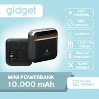 GIDGET - MINI POWERBANK 10000mAh Real Capacity 3 BUILT-IN Cable - A111