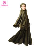 Bajuyuli - Baju Muslim Anak Perempuan Syari Bergo - Hijau Army - S