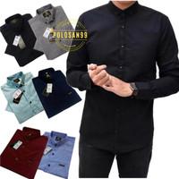 Fashion Pria Baju Kemeja Lengan Panjang Polos Slimfit Warna Pilih Aja - Hitam, M