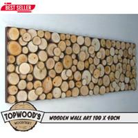 Topwood Hiasan dinding kayu 100x40 Cm Natural Wooden Wall Art