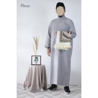 Baju Muslim Pria / Jubah Gamis Arab / Gamis Ikhwan Kerah Arab D'Ihsan - Putih, S