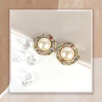 Circle Pearl Clip Earrings / Anting Jepit Lingkar Mutiara - Pastel