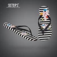 Sandal Jepit Bahan Karet Untuk Wanita Import RABBIT - Cute Lucu Imut - Hitam, 36