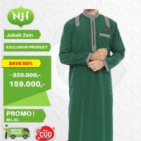 Baju Jubah Gamis Arab Muslim Pria Hijau M L XL Lengan Panjang JM4 - M