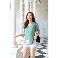 Kaos V Neck Lengan Pendek / Atasan Wanita Import / Bahan Katun Premium