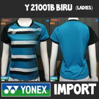baju kaos badminton bulutangkis wanita ladies cewek yonex y21001b biru