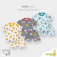 VELVET Setelan Oblong Pendek Kancing Bahu LB | Baju Anak 1-2 tahun