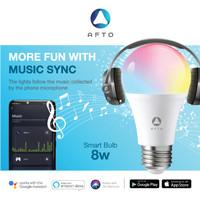 AFTO 8W Smart Bulb with Music Sync RGB+WW-CW/CCT Lampu Led -WiFi IoT