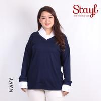 Atasan wanita Blouse Spandex Berkerah LD 124 Grosir baju Jumbo Lidya - Navy