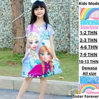 Dress Anak karakter / Frozen Sister Forever/ Baju Anak princess Cantik - 1-2 tahun, Sister Forever