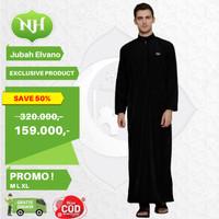 Baju Jubah Gamis Arab Muslim Pria M L XL Lengan Panjang JM3 - Hitam, M