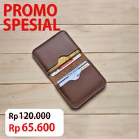 Dompet kartu kulit asli handmade slim wallet card holder