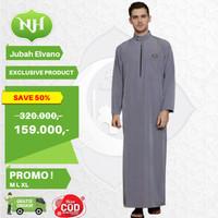 Baju Jubah Gamis Arab Muslim Pria Abu Abu M L XL Lengan Panjang JM3