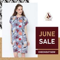 Daily Wear Adinata Batik Mikha Grey Dress
