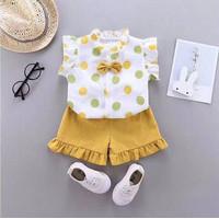 Baju anak Perempuan / Setelan anak cewek lengan pendek 2IN1 Import - Polka Kuning, 100cm