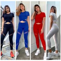 setelan baju olahraga wanita gym yoga baju senam crop silang