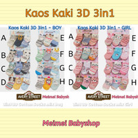 Kaos Kaki Anak Avery Street 3D 3in1 isi 3 Pasang 1-2 Tahun Bayi Socks