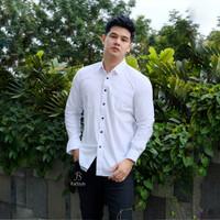 Baju Kemeja Lengan Panjang Casual Pria Putih Polos Ada Big Size XXXL